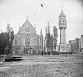 Unidentified photograph from the Stereo-pair collection- Location Identified as St Saviour's Church and the Tait Memorial Clock in Limerick (16644605215).jpg