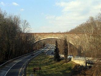 Washington Aqueduct - The Union Arch Bridge carries the Washington Aqueduct across Cabin John Creek.
