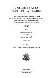 United States Statutes at Large Volume 110 Part 1.djvu