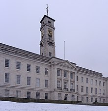 Photograph of the University of Nottingham's Trent Building on University Park, in the January 2013 snow