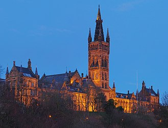 Ancient universities of Scotland - The Main Building of the University of Glasgow, from Kelvingrove Park