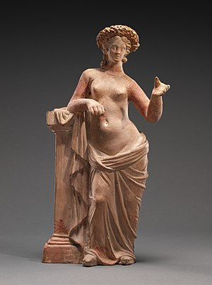 Aphrodite, terracotta with polychromy, between 250 and 200 BC