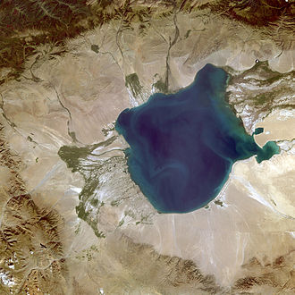 Uvs Lake - A satellite image of the western part of the Uvs Lake basin