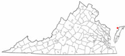 Location of Saxis, Virginia