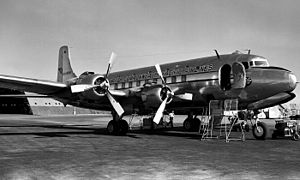 British Commonwealth Pacific Airlines - A BCPA Douglas DC-6 airliner at Brisbane Airport.