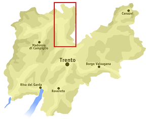Non Valley - Map of Trentino with Non Valley marked in red.