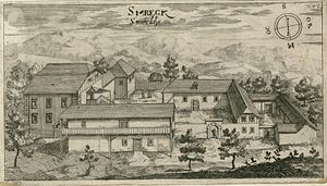 Podsmreka Castle - 1679 engraving of Podsmreka Castle