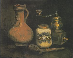 Still life paintings by Vincent van Gogh (Netherlands) - Still Life with Coffee Mill, Pipe Case and Jug also Still Life with a Bearded-Man Jar, 1884, Kröller-Müller Museum, Otterlo (F52)