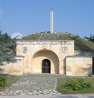 Kurgan - Memorial of the Battle of Varna, which took place on 10 November 1444 near Varna, Bulgaria. The facade of the mausoleum is built into the side of an ancient Thracian tomb.