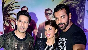 John Abraham (actor) - Varun Dhawan, Jacqueline and John Abraham during Dishoom promotions in 2016.