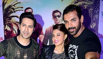 John Abraham (actor) - Varun Dhawan, Jacqueline and Abraham during Dishoom promotions in 2016.
