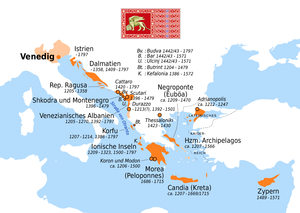 Stato da Màr - Map of the Venetian colonial empire