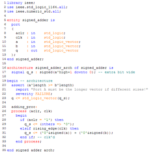 VHDL source code for a signed adder