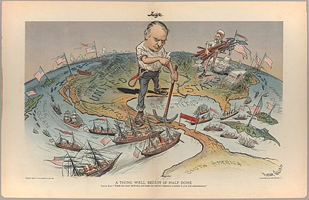 This cartoon reflects the view of Judge magazine regarding America's imperial ambitions following a quick victory in the Spanish-American War of 1898. The American flag flies from the Philippines and Hawaii in the Pacific to Cuba and Puerto Rico in the Caribbean. Victor Gillam A Thing Well Begun Is Half Done 1899 Cornell CUL PJM 1136 01.jpg