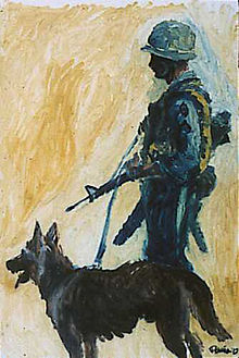 Scout Dog By Augustine G Acuna Vietnam Combat Artists Program Cat Ii 1966 67 Image Courtesy Of National Museum Of The U S Army