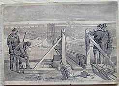 """""""From Tower to Tower – die Hängebrücke über den East River – Blick vom Brooklyn Tower"""", ein Kunstwerk aus dem Jahr 1877"""