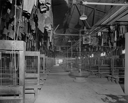 View showing miners' clothes suspended by pulleys, also wash basins and ventilation system, Kirkland Lake, Ontario, 1936. View showing miners' clothes.jpg