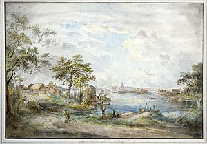 Ulla! min Ulla! säj får jag dig bjuda - Pastoral setting: the view towards Stockholm from Djurgården in Bellman's time. Watercolour by Elias Martin, c. 1790