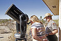Viewing the partial solar eclipse of October 23, 2014 through a telescope with a solar filter - Joshua Tree National Park.jpg