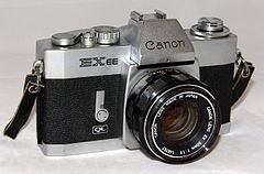 Vintage Cannon EXEE 35 mm SLR Film Camera, Made In Japan, Has A Permanently Mounted Half Lens, Circa 1969 - 1973 (18802275486).jpg