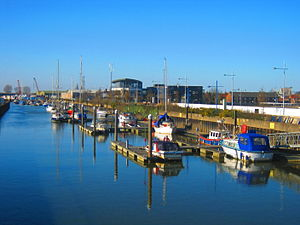 Port of Wisbech - Yachtclub with cargo depot in the background.