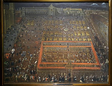 View of the Plaza Mayor of Mexico City (1695) by Cristobal de Villalpando. The viceroy's palace still shows the damage done during the 1692 riot. Vista de la Plaza Mayor de la Ciudad de Mexico - Cristobal de Villalpando.jpg