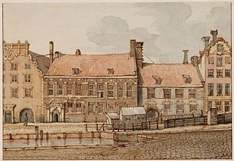 Voetboogdoelen, Amsterdam - Drawing of the Voetboogdoelen by Gerrit Lamberts, early 19th century
