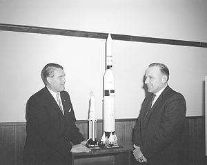 Joe Waggonner - Marshall Space Flight Center Director Wernher von Braun and Representative Waggonner discuss Apollo models.