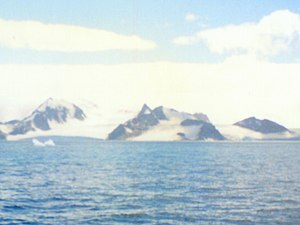 Vratsa Peak - Vratsa Peak (the sharp one in the centre) from Bransfield Strait, with Viskyar Ridge on the left and St. Kiprian Peak on the right.