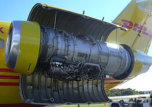 Pratt & Whitney JT8D - A JT8D pictured mounted on a McDonnell Douglas DC-9 operated by DHL at the Portland International Jetport in 2004