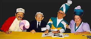 Jerry Maren - From left: Jerry Maren (Lollipop Guild), Karl Slover, Clarence Swensen and Margaret Pellegrini (1998)