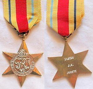 Africa Star - Awarded to a South African, 314134 J.A. Jooste