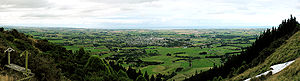 This is a panorama of the view from the White Horse above Waimate, in New Zealand. Waimate can be seen near the centre, while part of the White Horse can be see on the lower right