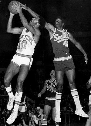 Lucius Allen - Allen (right) defending Walt Frazier of New York in 1969
