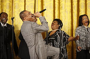 Walter Hawkins - Hawkins performed on stage in the East Room of the White House, where he was joined on stage by his brother Edwin, Tuesday, June 17, 2008, in honor of Black Music Month.