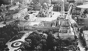 Alexander Nevsky Cathedral, Warsaw - Saxon Square as seen from the air in 1919.
