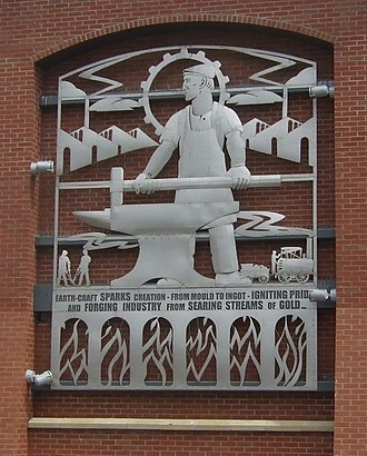 Wednesbury - An art installation on a local supermarket celebrating the town's industrial past