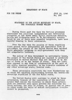 Welles Declaration US diplomatic statement of July 23, 1940
