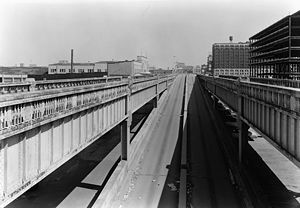 West Side Elevated Highway - Former elevated highway, looking north at the Chambers Street ramps.