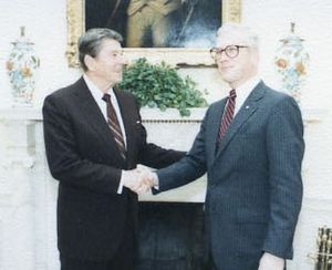 Weston Adams (diplomat) - Image: Weston Adams with Ronald Reagan