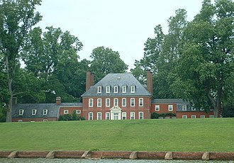 Georgian architecture - Westover Plantation - Georgian country house on a plantation on the James River in Virginia