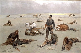 What An Unbranded Cow Has Cost by Frederic Remington, which depicts the aftermath of a range war between cowboys and supposed rustlers. What an Unbranded Cow Has Cost by Frederic Remington 1895.jpeg