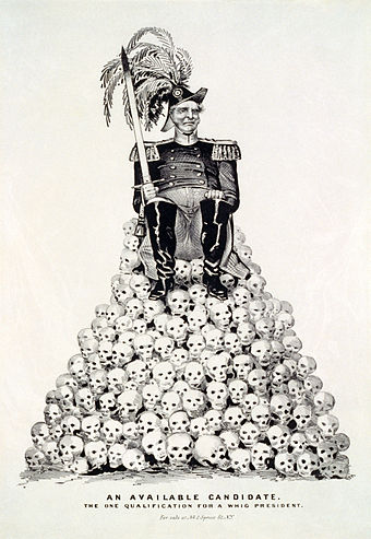"""An Available Candidate: The One Qualification for a Whig President."" Political cartoon about the 1848 presidential election, referring to Zachary Taylor or Winfield Scott, the two leading contenders for the Whig Party nomination in the aftermath of the Mexican-American War. Published by Nathaniel Currier in 1848, digitally restored. Whig primary 1848c.jpg"