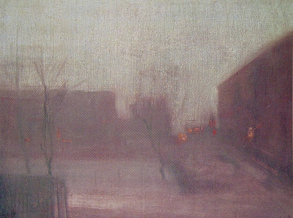 Whistler James Nocturne Trafalgar Square Chelsea Snow 1876