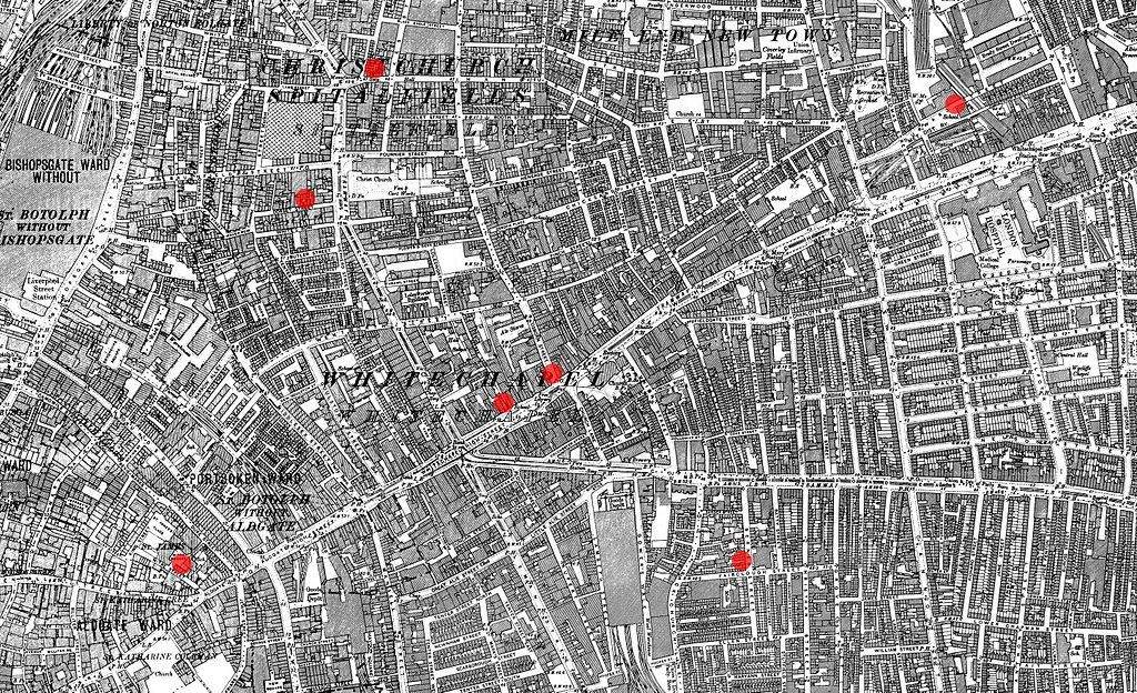 Victorian map of London marked with seven dots within a few streets of each other