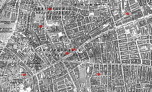Jack the Ripper - The sites of the first seven Whitechapel murders – Osborn Street (centre right), George Yard (centre left), Hanbury Street (top), Buck's Row (far right), Berner Street (bottom right), Mitre Square (bottom left), and Dorset Street (middle left)