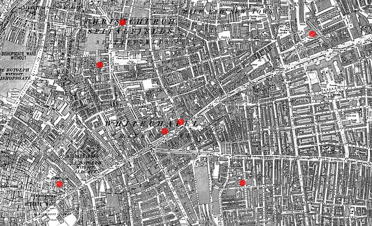 Streetmap showing the locations of the first seven Whitechapel murders