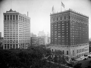 David Whitney Building - Whitney Building prior to modernization (left) and Statler Hotel, c. 1915