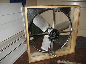 Photo of a whole-house fan and its shutters, p...