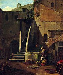 Washerwomen in a yard.